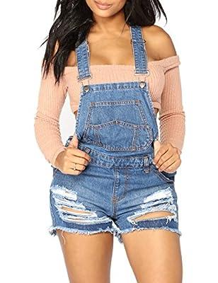 LookbookStore Women's Ripped Denim Bib Overall Shorts Raw Hem Shortall Jeans