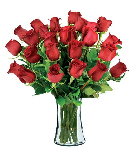 24 Red Long-Stem Roses with Vase by Flowers Sent Today