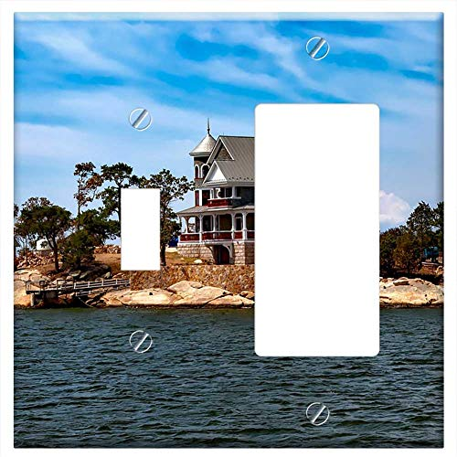 (1-Toggle 1-Rocker/GFCI Combination Wall Plate Cover - Thimble Islands Island House Home Vacation Ho)