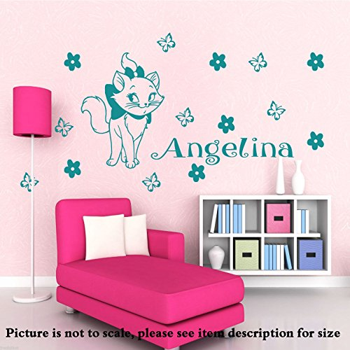 Disney Marie the Cat vinyl wall Stickers personalized Name Removable decal Aristocats Home art