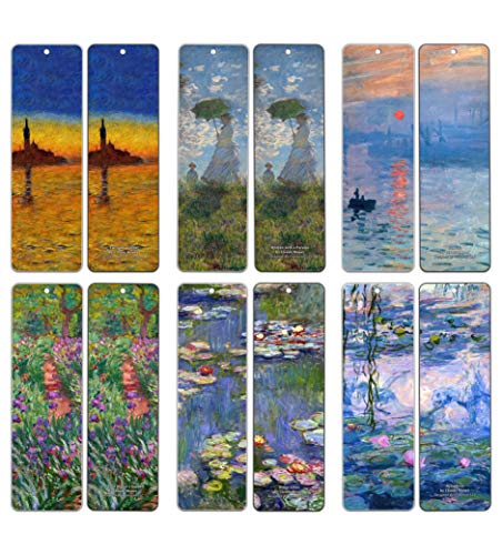 Claude Monet Bookmarks (60-Pack) - Famous Paintings Water Lilies - Bookmarks for Books Men Women Kids Boys Girls - Wall ()