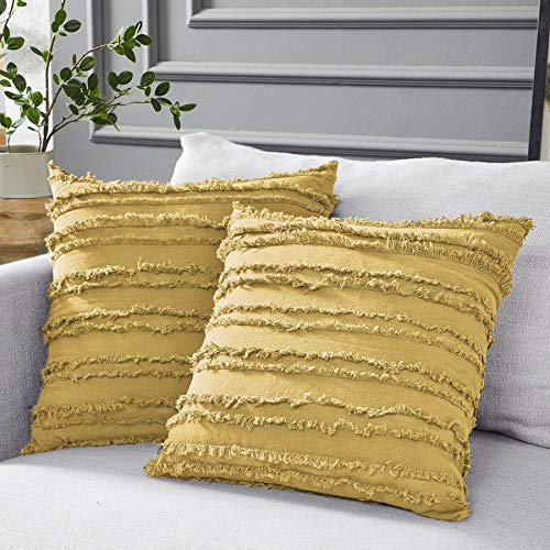 Longhui bedding Mustard Yellow Cotton Linen Throw Pillow Covers for Couch Sofa Bed, Decorative Throws Cushion Covers, 18 x 18 inches, Set of 2 (Linen Throw Pillows)