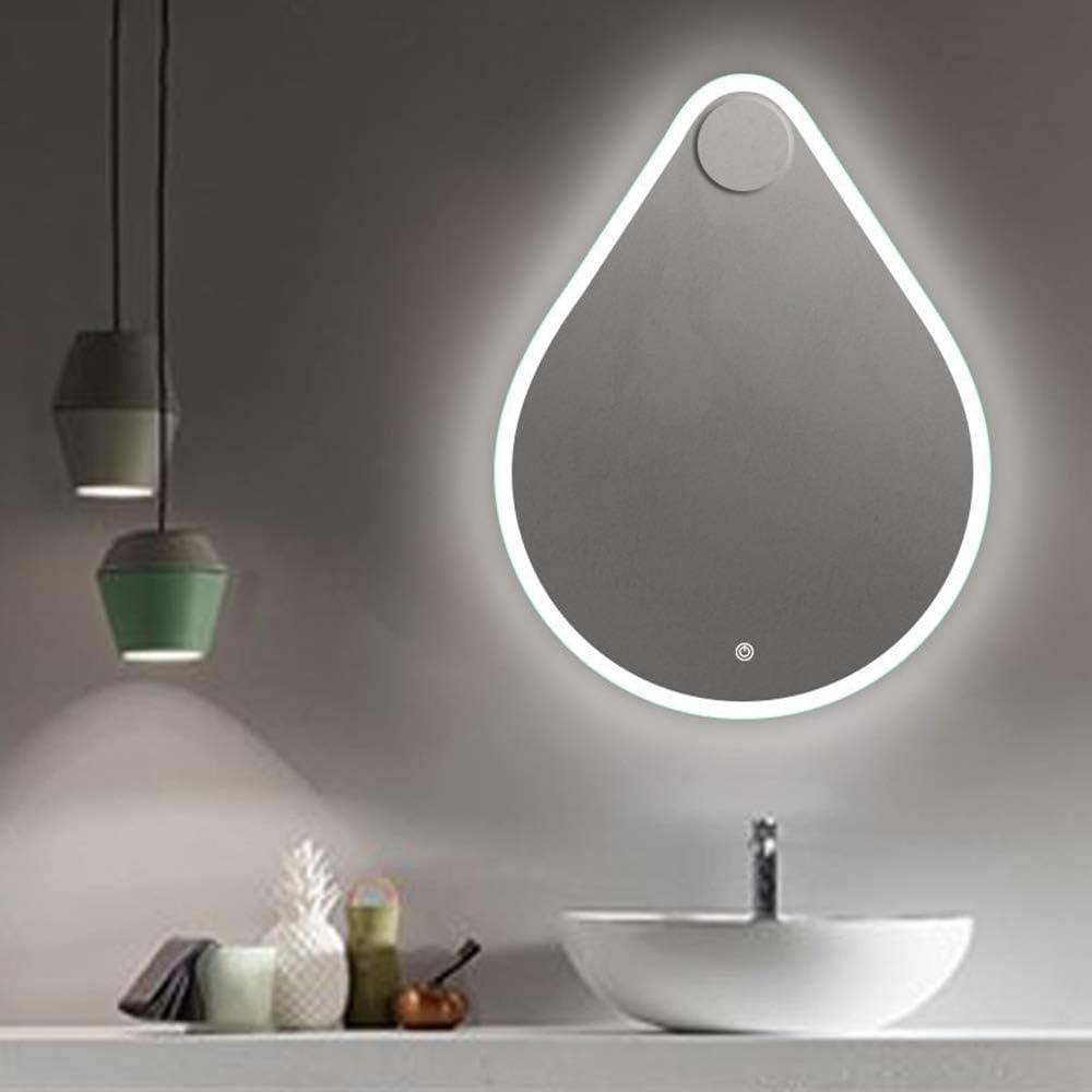 A Prova di Esplosione Specchio da Trucco A LED Retroilluminato A Parete Interruttore di Tocco di Memoria Specchio da bagno Moderno A Forma di Goccia A LED Luce A Tre Toni Impermeabile