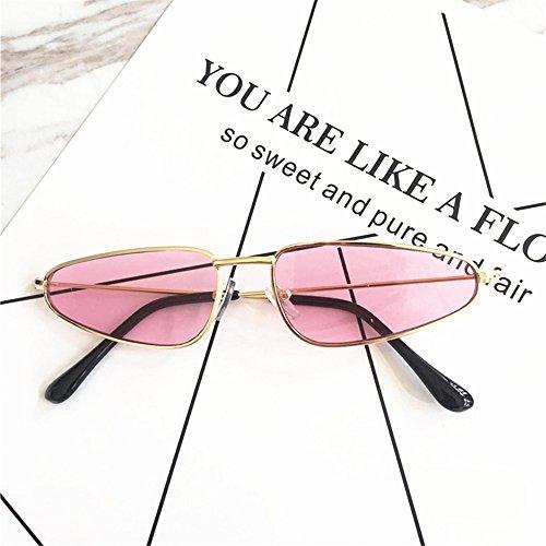 ZHU YU Chun Slender Metal Small Frame Retro Skinny Narrow Cat Eye Sunglasses (Gold Frame Pink (Slender Costumes For Kids)