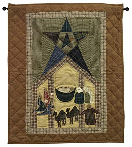 (Primitive Star with Nativity Christmas Wall Hanging Quilt 24