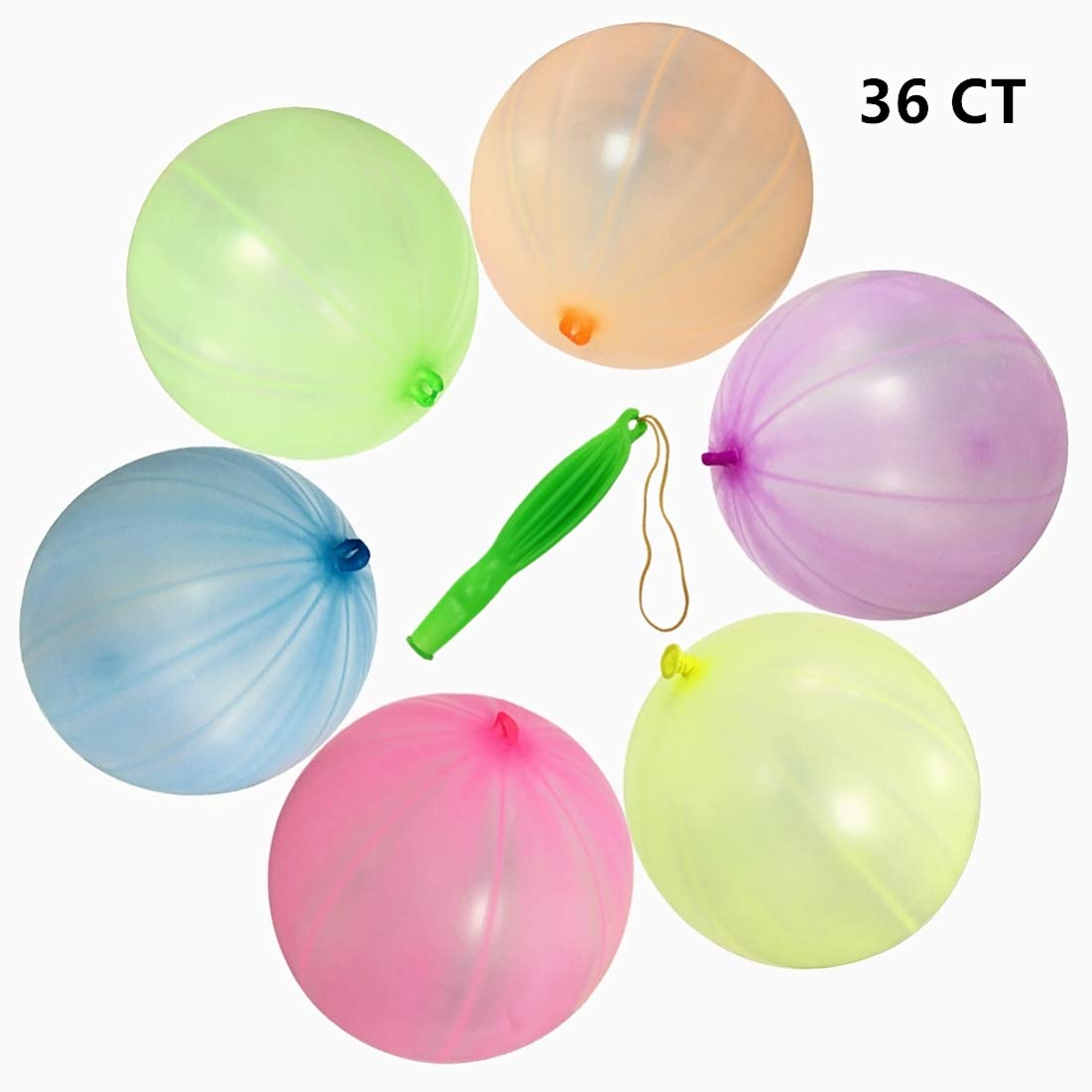 36PCS Punching Ball Balloons 12 Round Punch Balls Pure Latex Balloon for Party Decorations and Kid's Party Favors Assorted Neon Colors GuassLee