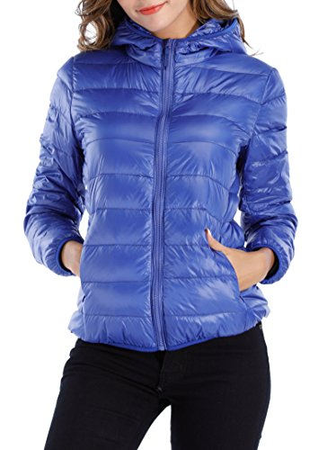 Sarin Mathews Womens Packable Ultra Lightweight Down Jacket Outwear Puffer Coats RoyalBlue S