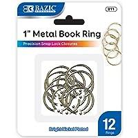 Anillos de metal de BAZIC, 1 pulgada, plata para escuela, hogar u oficina (12 por paquete)