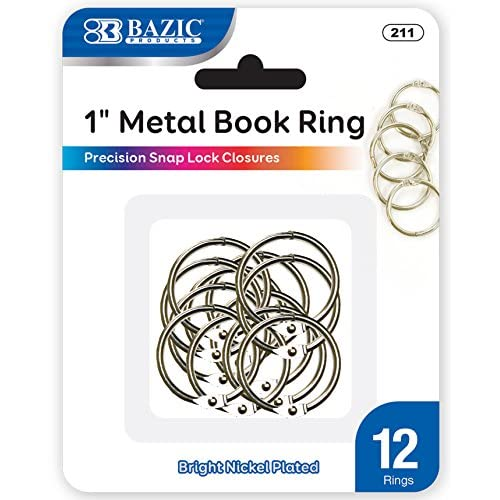 BAZIC Metal Book Rings, 1 Inch, Silver for School, Home, or Office (12 Per Pack) free shipping