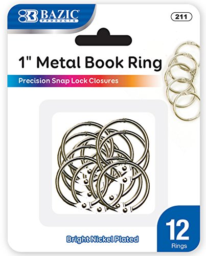 BAZIC Metal Book Rings, 1 Inch, Silver for School, Home, or Office (12 Per Pack) ()