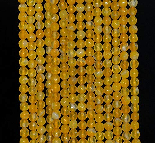 "4MM Agate Gemstone Amber Yellow Faceted Round Loose Beads 15"", Beading, Jewelry Making, DIY Crafting, Arts & Sewing by Perfect Beads Store"