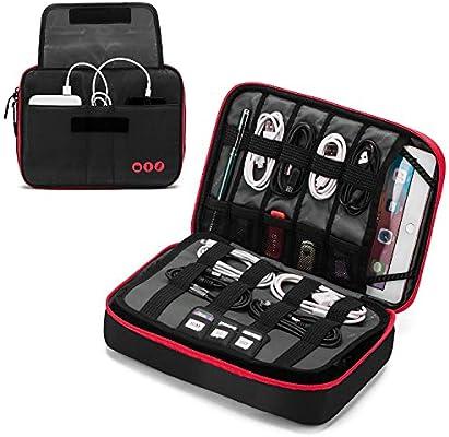 YXZQ Accesorios electrónicos de Viaje Grandes Bolsa organizadora de Cables Gruesa Estuche portátil para Cables, Cargador, Kindle, iPad de 9,7 : Amazon.es: Deportes y aire libre