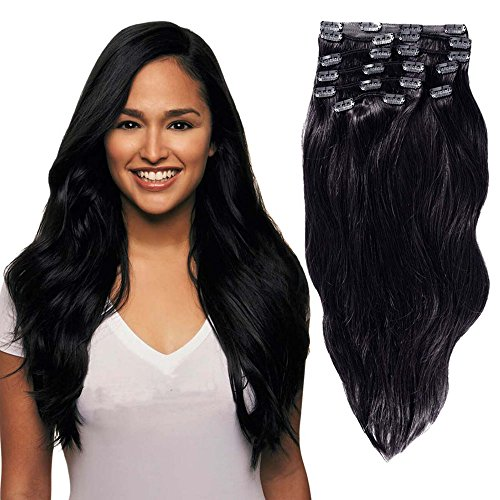 Clip In Sets 10pcs Clip In Human Hair Extensions Jet Black #