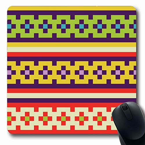 Ahawoso Mousepads Endless Blue Band Ribbons Braids Abstract Vintage Retro Green Bracelet Canvas Flower Design Geometry Oblong Shape 7.9 x 9.5 Inches Non-Slip Gaming Mouse Pad Rubber Oblong Mat