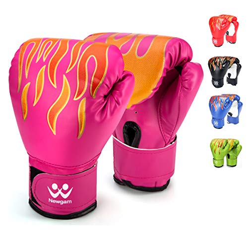 Newgam Kids Boxing Gloves, Children Junior Sparring Kickboxing Training Gloves,Junior Punch Bag MMA Training Muay Thai Mitts - PU Leather - 5oz for 3 to 14 YR (Pink) ()
