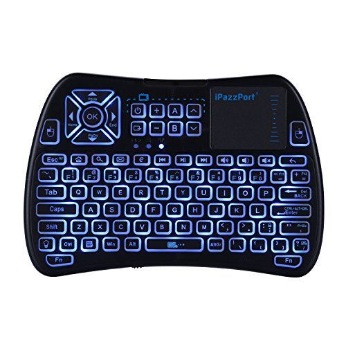 Accreate Mini Keyboard RF/IR RGB LED 3-Color Backlit 2.4G Wireless Keyboard with Touchpad