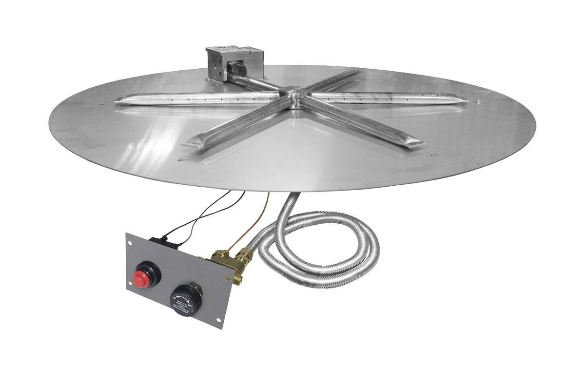Firegear Spark Ignition Gas Fire Pit Burner Kit with Flame Sensing (FPB-34DBSTMSI-N), Round Flat Pan, 34-Inch, Natural Gas by Firegear