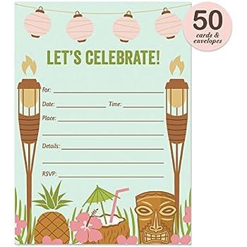 Amazoncom Sunsational Luau Party Tiki Invitations Value Pack