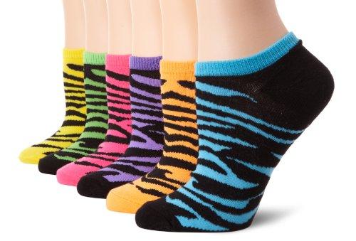 (K. Bell Women's 6 Pack Novelty No Show Low Cut Socks, Zebra (Neon), Shoe Size: 4-10)