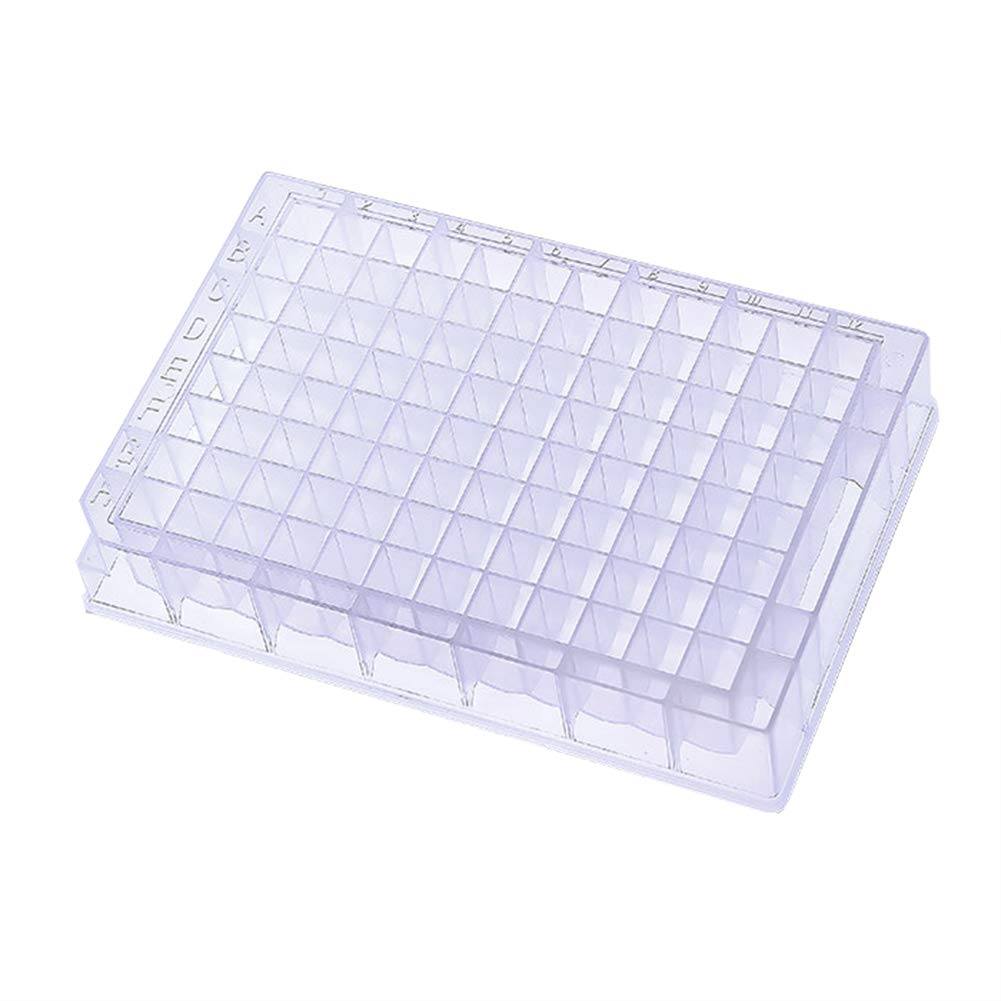 1.2ml Storage Microplates 96 Square Wells Transparent Sterile Polypropylene V-Shape Bottom for Microchemistry (Pack of 10) by JRLGD