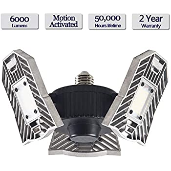 Motion Activated Ceiling Light 60W 6000LM - Led Deformable Garage Light, High Intensity Mining Lamps, LED Ceiling Light, Radar Home Lighting for Garage, ...