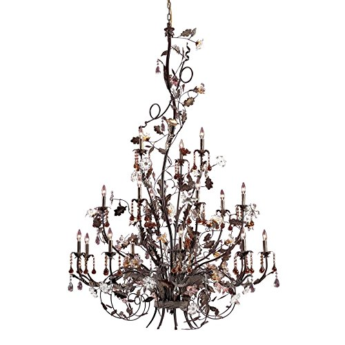 Elk Lighting 85004 Cristallo Fiore 18 Light Floral Chandelier Lighting Fixture, Deep Rust Bronze, Glass Florets with Amber and Clear Crystal, B12121 (Cristallo Fiore 18 Light)