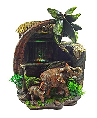 GiftsRDecor Tabletop Water Fountain Elephants Near Palm Tree And Hut