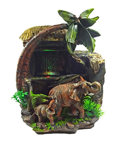 ImagiWonder Tabletop Water Fountain Elephants Near Palm Tree and Hut ()