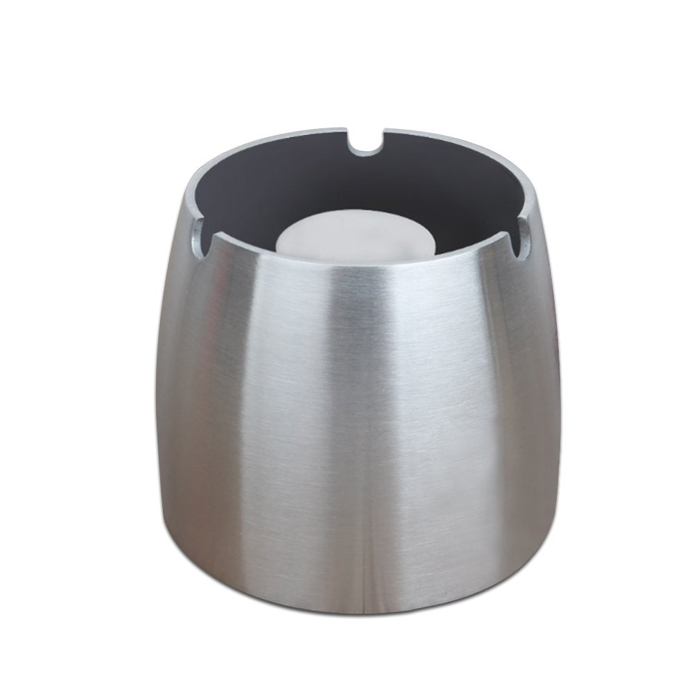 Attac Ashtray, Stainless Steel Windproof Unbreakable Modern Tabletop Ashtray, Cigarette Ash Holder for Home Office Decoration, Silver (Large)