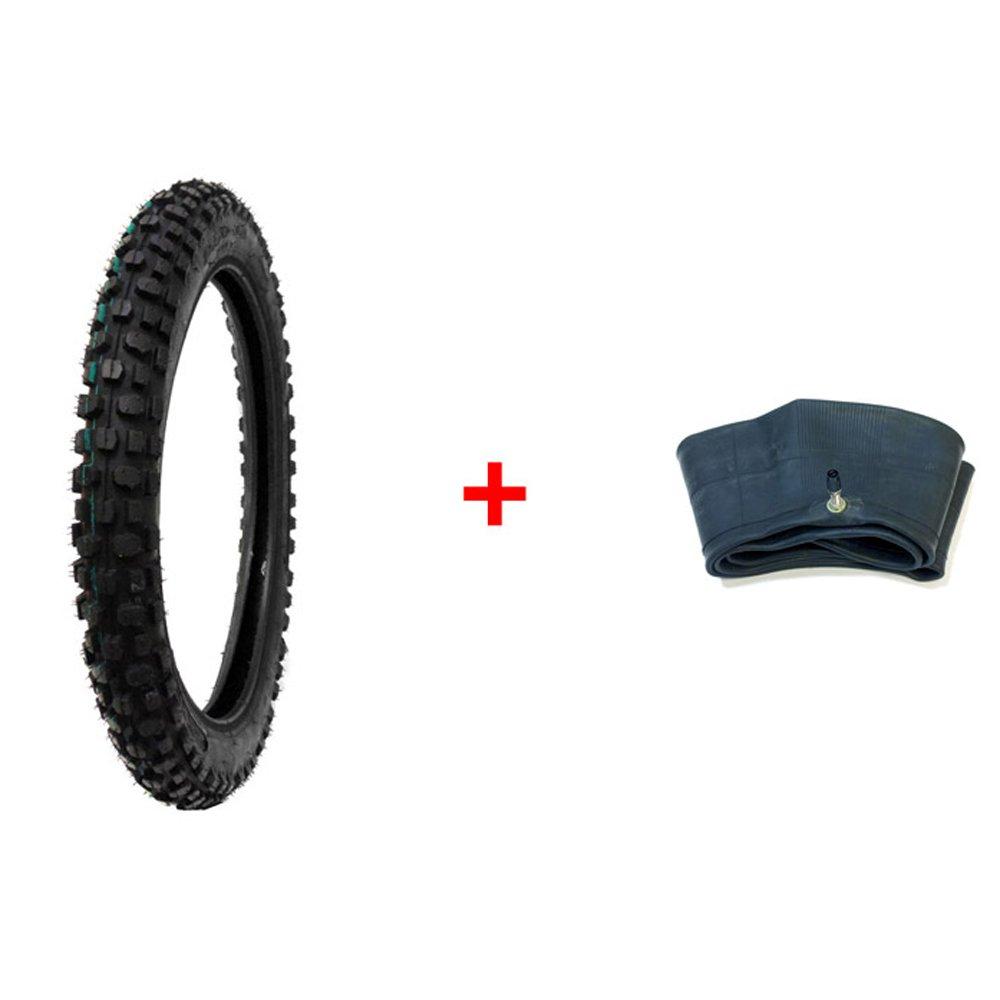 BUNDLE COMBO: TIRE and INNER TUBE Size 2.50-14 Inner Tube TR4 Valve Stem - Motorcycle Off Road Knobby