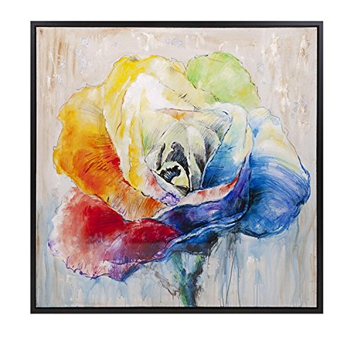 Multi-Colored Rainbow Rose Flower Framed Square Oil Painting
