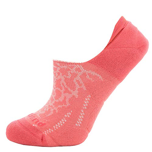 Footland Burst Woven Pattern Compression Hidden Sports No Show Socks For Heavy Training,Running,Salmon Color ()