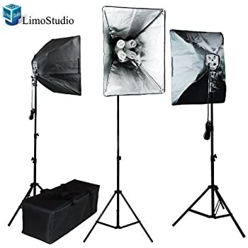 "LimoStudio Photo Video 2400 Watt 3 x Softbox Continuous Light Kit, 3 x Light Stands, 3Pcs x 16"" x 24"" Softbox with 4 x 45 Watt 6500K Bulbs and Bulb Holder Each Total 12 Bulbs, Carrying Bag, AGG849"