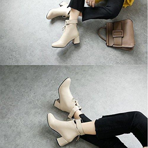 FUFU Frauen Stiefel Mode Stiefel Bootie Herbst Winter PU Für Casual Low Heel Party & Abend Gelb Schwarz Grau Aprikose Aprikose