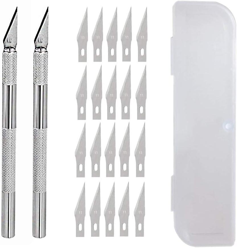 JOQINEER Hobby Knife Juego de cuchillos artesanales de precisión de acero inoxidable para bricolaje Trabajo de arte - 2 asas y 20 hojas de repuesto con estuche (2+20)
