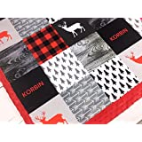 """Personalized Minky Baby Blanket, Woodland in Red Black and Gray, 28"""" x 38"""""""