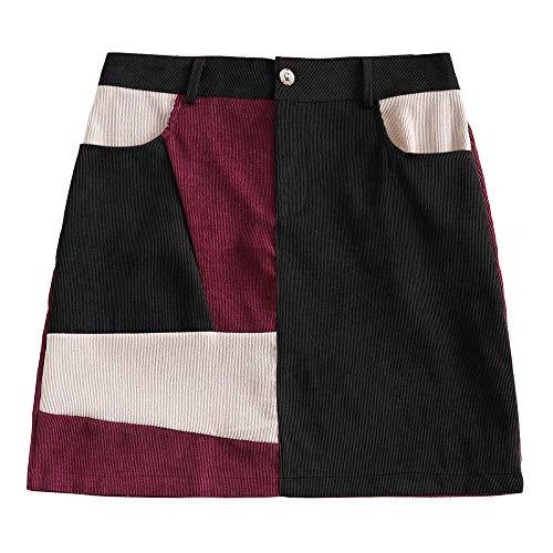 DEZZAL Women's Vintage Corduroy Color Block Patchwork A-Line Mini Skirt (Black, XL) ()