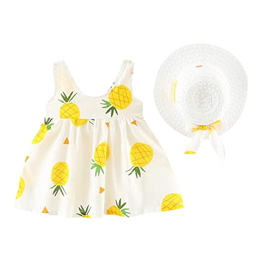 cc401ea1e04 Amazon.com: VEFSU Toddler Baby Kids Girls Sleeveless Pineapple ...