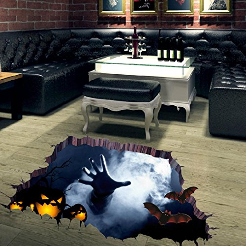 Sikye Halloween Decor DIY Art 3D Room Floor Wall Sticker Mural Decal Waterproof (Multicolor 3 -
