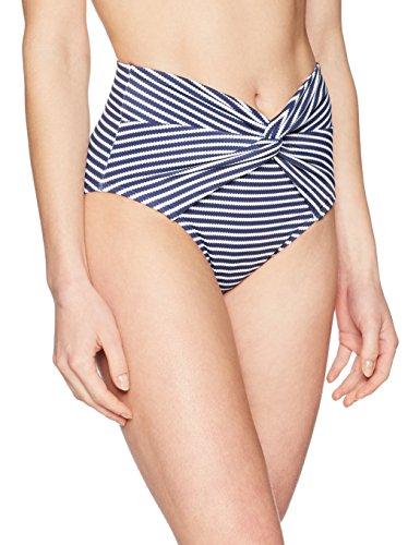 (Coastal Blue Women's Swimwear Twist Front High Waist Bikini Bottom, New Navy/White Stripe, M)