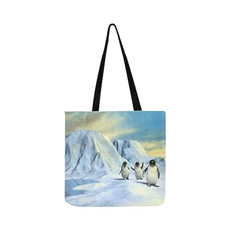 Grupo Lindos Pingüinos Caminando Paisaje Ártico Lienzo Tote ...