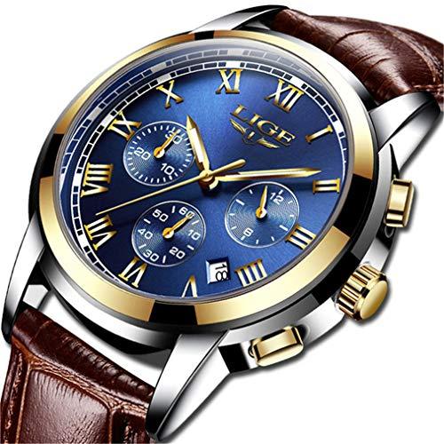 Mens Watches Waterproof Business Dress Analog Quartz Watch Men Luxury Brand LIGE Date Sport Brown Leather Clock