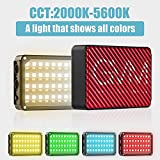 GVM 80 LED RGB On-Camera Video Light TLCI/CRI 95+ 2000-5600K Adjustable Aluminum Body with Built-in Lithium Battery in Pocket-Sized …
