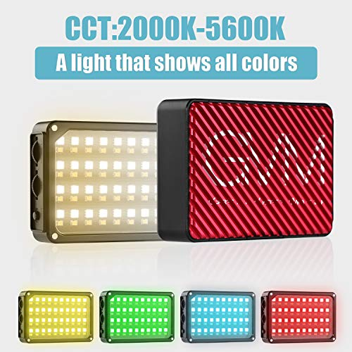 GVM 80 LED RGB On-Camera Video Light TLCI/CRI 95+ 2000-5600K Adjustable Aluminum Body with Built-in Lithium Battery in Pocket-Sized … by Gvm