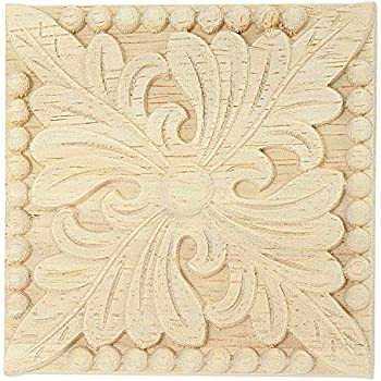 Amazon Com Toogoo Natural Wood Appliques Square Flower Carving