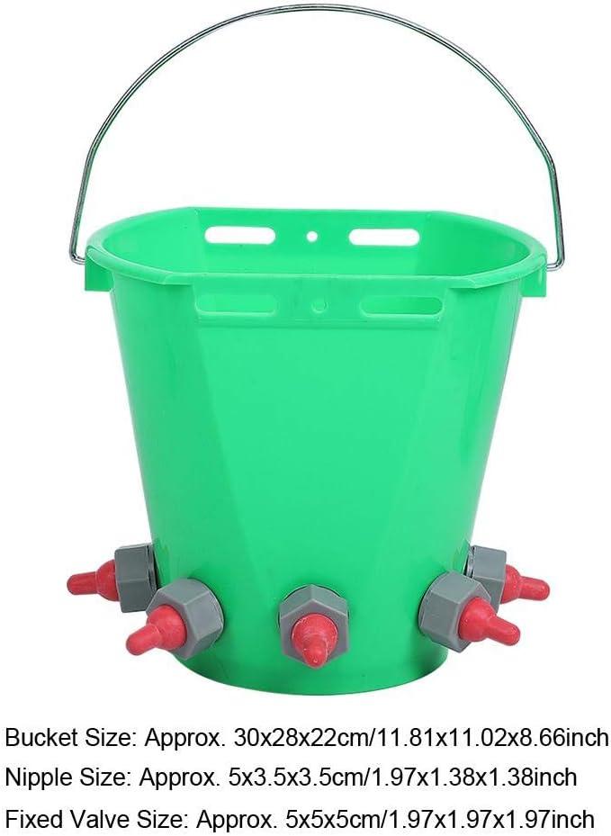 Atyhao Milk Bucket, 8L HL-MP69 Plastic Milk Bucket Multiple Nipples High Capacity Lamb Milk Feed Bucket for Feed Orphaned Lamb Pup(Single Nipple) Five Nipple