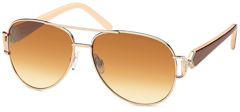 Lackierte Damen Pilotensonnenbrille mit 2 farbigen Bügeln und Schmuckscharnier UV400 Filter- Im Set mit Etui