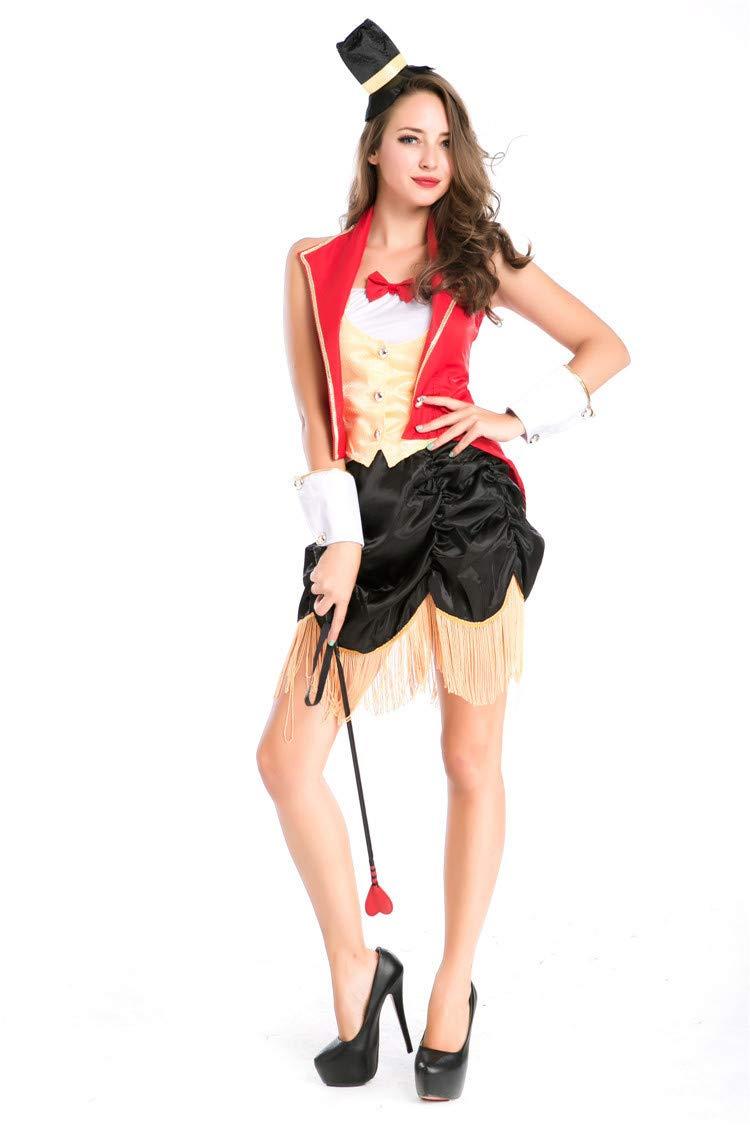 Simmia Halloween Kostüm,Halloween Männer und Frauen Liebhaber Spiel Uniformen Rolle Spielen Zirkus Magier Tier Trainer, 8709, U