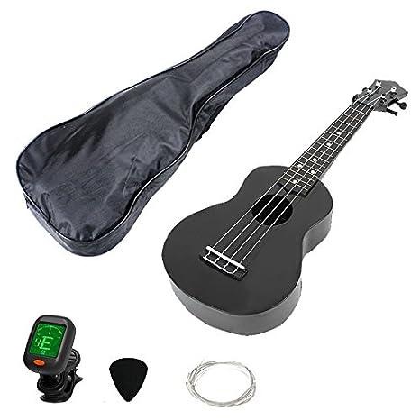 Top Poliedro 21 inch Inicio 4 cuerdas Guitarra Ukelele Soprano madera de concierto económico ukelele hawaiano negro: Amazon.es: Instrumentos musicales
