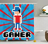 Ambesonne Video Games Shower Curtain Set, Blue Red Stripes Boom Beams Retro 90's Style Toys Boy Cap Gamepad, Fabric Bathroom Decor Hooks, 75 inches Long, Red Blue White Black